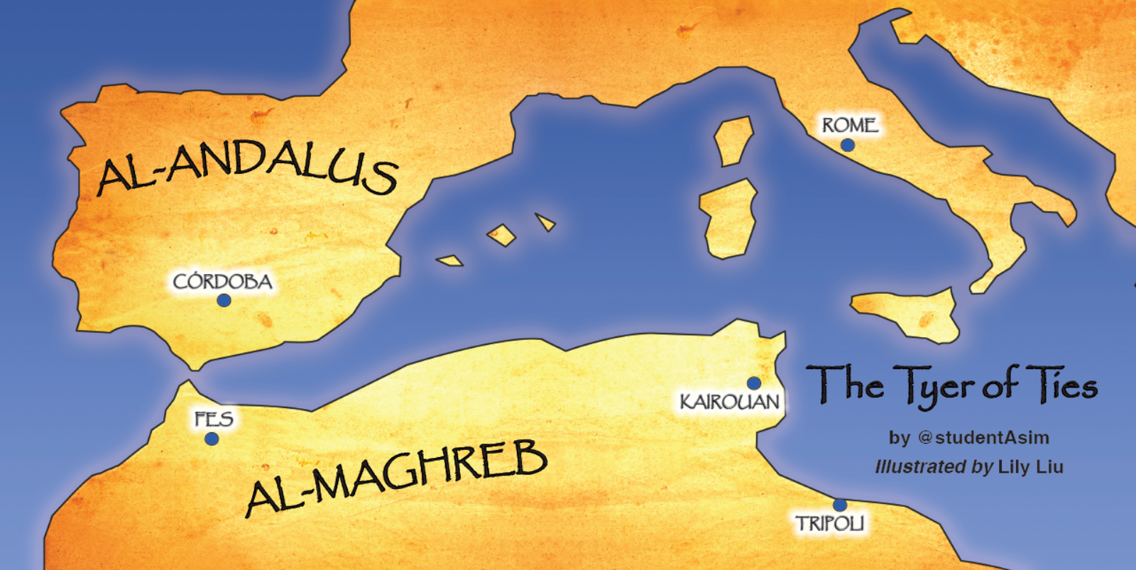 A map of Al-Andalus and surrounding areas from The Tyer of Ties