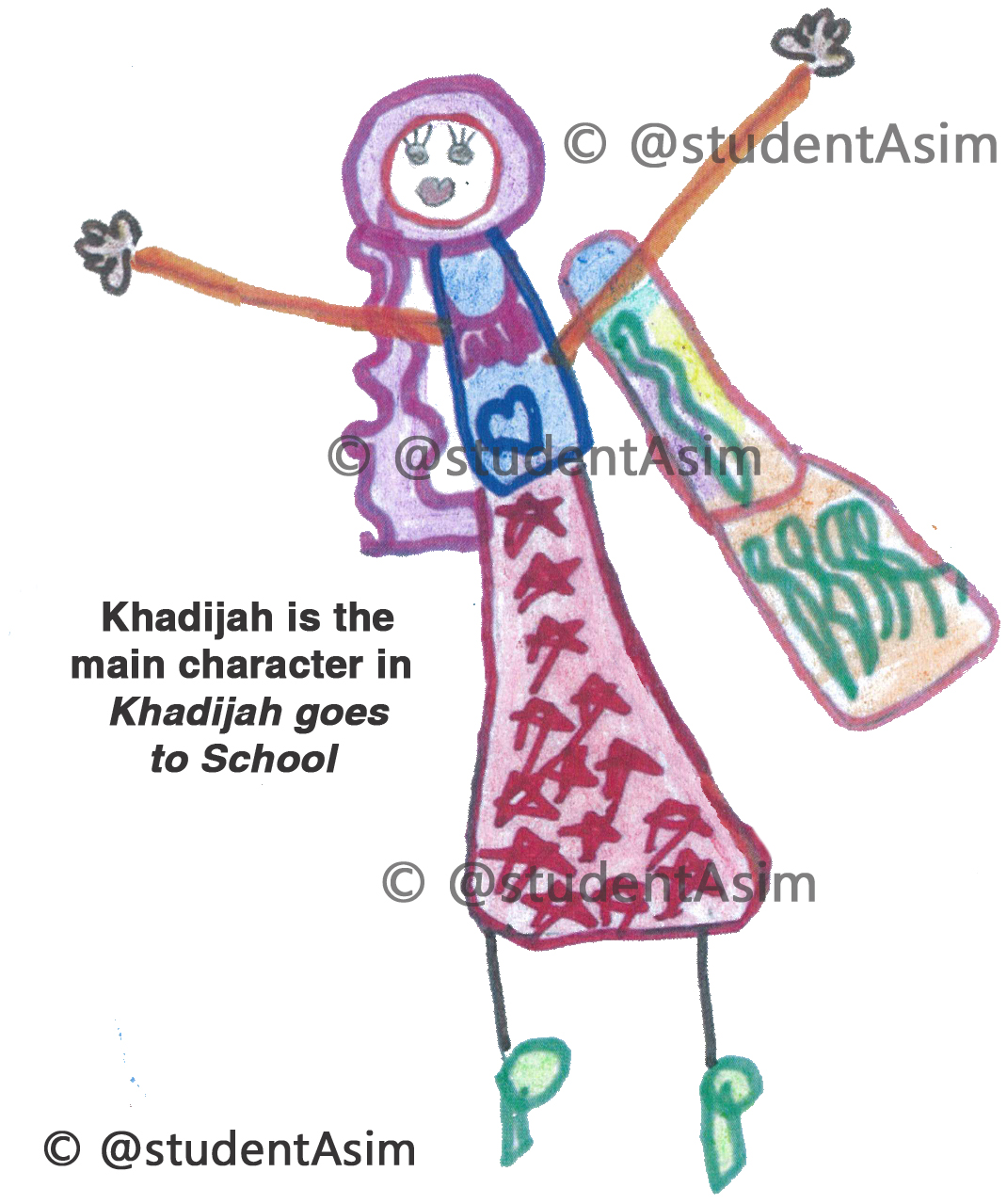 Khadijah is the main character in Khadijah goes to School by @studentAsim