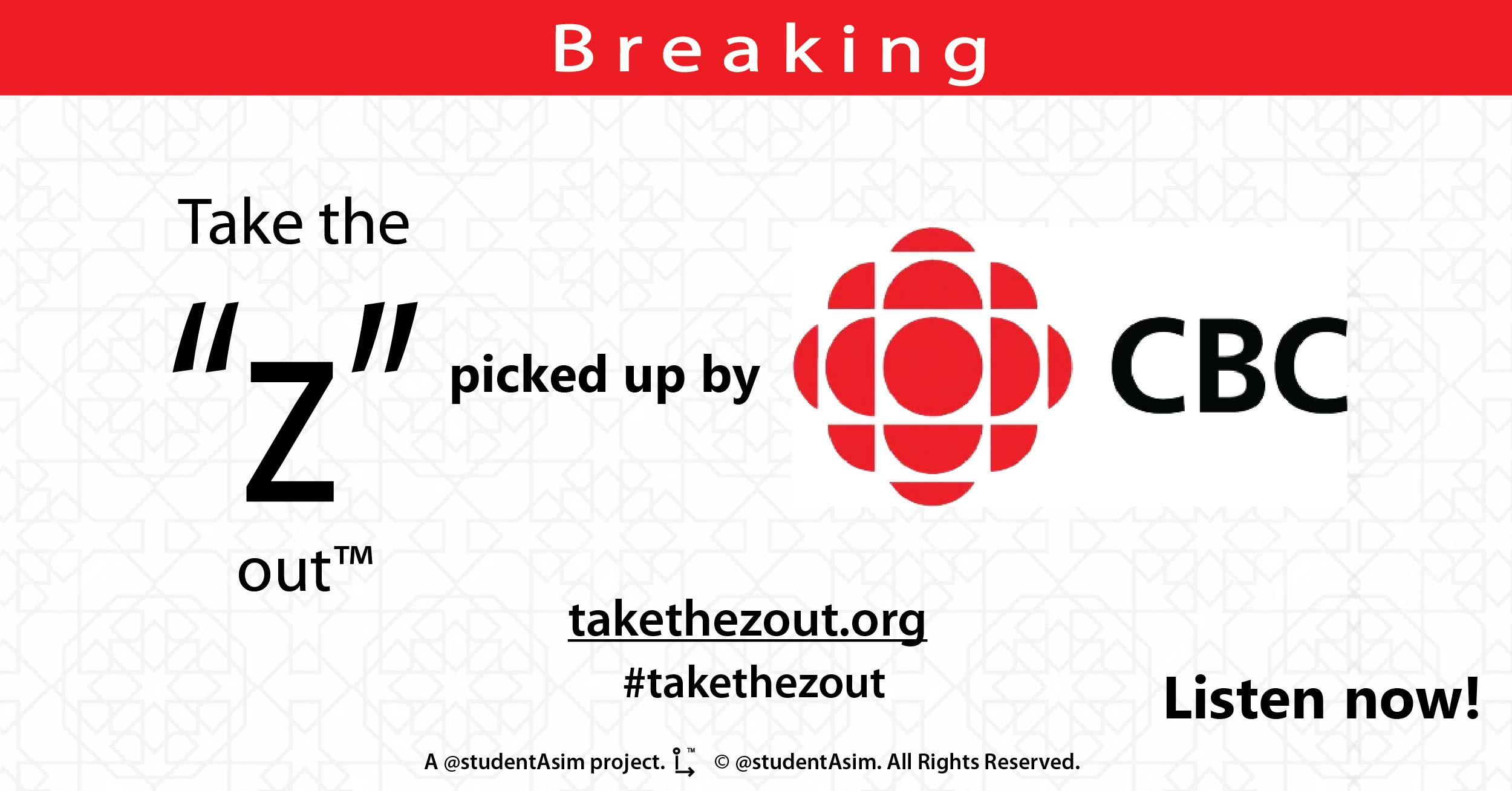 "Take the ""Z"" out by @studentAsim picked up by CBC"